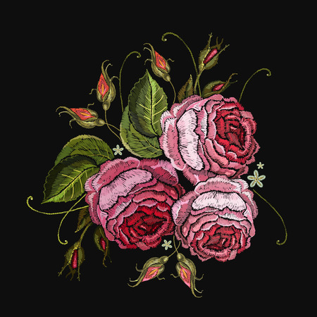 Embroidery roses flowers t-shirt design. Beautiful pink roses classical embroidery on black background. Template for clothes, textiles, t-shirt design Illustration