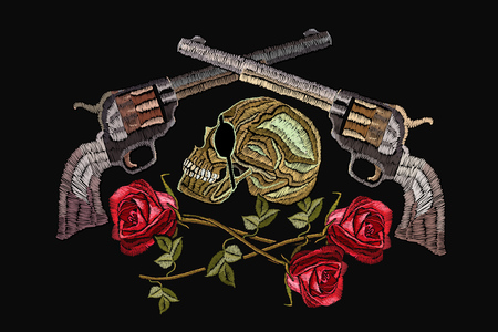 Embroidery skull, crossed guns and roses. Template for clothes, textiles, t-shirt design. Criminal embroidery, pirates and revolvers