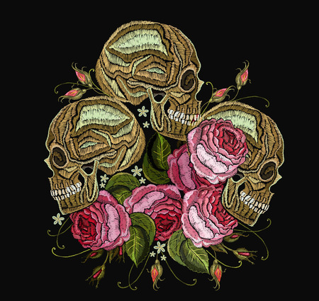 Embroidery three skulls and flowers. Fashion template for clothes, textiles, t-shirt design. Gothic romantic embroidery human skulls and red roses