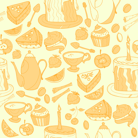 Seamless tea background with cakes, teapots, cups, candies. Time for tea hand drawn art