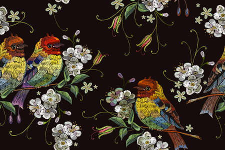 Embroidery birds and blossoming cherry seamless pattern. Template for clothes, textiles, t-shirt design Illustration