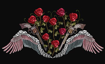 Classical embroidery wings and crossed guns and spring roses. Symbol of romanticism and crime. Embroidery guns, wings and roses. Template for clothes, textiles, t-shirt design