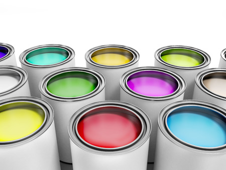 gallons: Multicolored Paint Cans on White