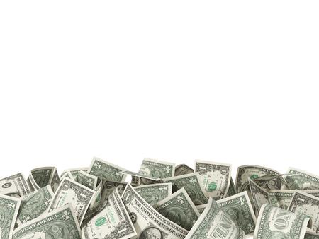 1 ドル札をあなたのテキストのための場所で白い背景で隔離のヒープ