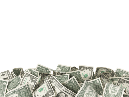 Heap of 1 Dollar Bills isolated on white background with place for your text