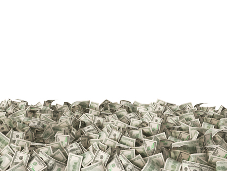 100 dollars banknotes on the ground isolated on white 写真素材