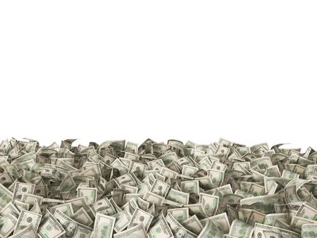 dollaro: 100 banconote in dollari sul terreno isolato su bianco