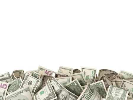 텍스트에 대 한 흰색 배경에 고립 된 1,5 및 100 달러 지폐의 힙