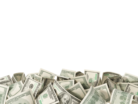 Heap of 100 Dollar Bills isolated on white background with place for your text