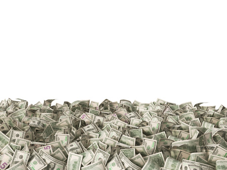 one hundred: many banknotes of 1 and 5 and 100 dollars on the ground isolated on white