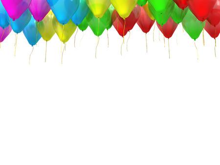 serpentinas: globos de colores con cintas de oro aislado en blanco