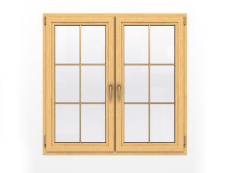 흰색 배경에 고립 된 닫힌 된 나무 창 스톡 콘텐츠