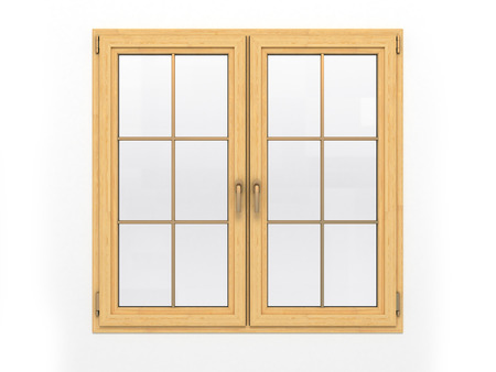 closed wooden window isolated on white background