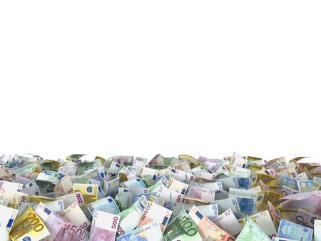 billets euros: Euro note au sol, fond blanc