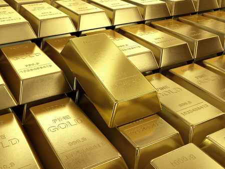 background of gold bars close up high quality