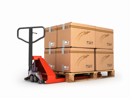 pallet truck: Hand pallet truck carries a pallet with boxes are isolated on a white