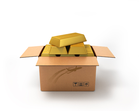 fragile economy: Gold in a cardboard box isolated on white background Stock Photo