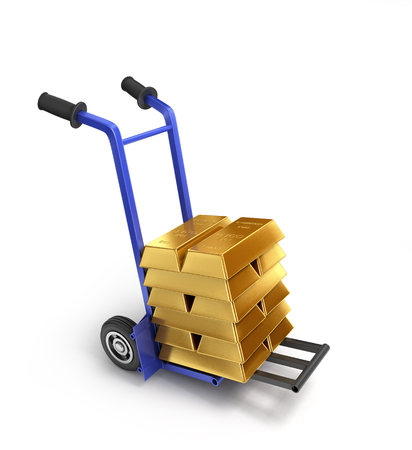 distribute: gold on hand truck isolated on white
