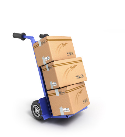 sack truck: concept of fast delivery, the box on the two-wheeled trolley Stock Photo