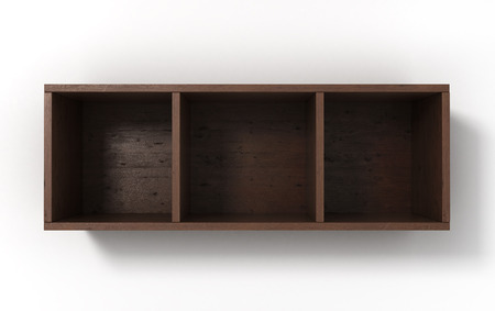 three shelves: Suspended darc shelves with three sections isolated on white background Stock Photo