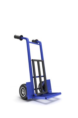 carretilla de mano: azul blanco carro de la mano de dos ruedas para el transporte de cargas pesadas, aislados en fondo blanco