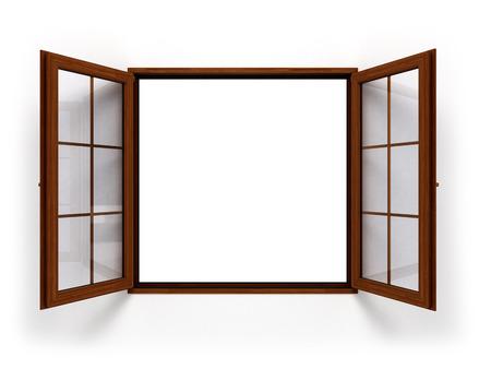 open dark wooden window isolated close up