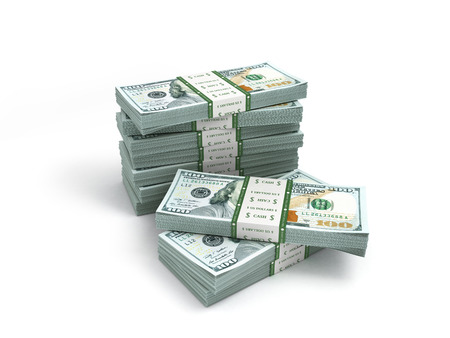 batch of dollars: pack of new dollar bills isolated on white