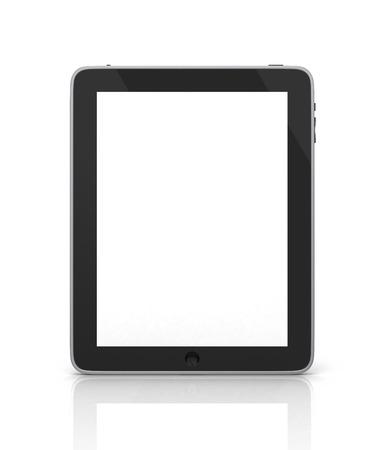 白い背景の白い画面でモダンなポータブル タッチ パッド デバイス上黒の抽象的なタブレット コンピューター (タブレット pc)