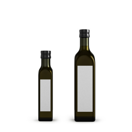 dark glass bottles for olive oil of different sizes isolated on white Фото со стока