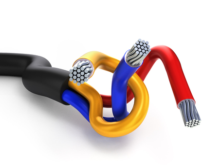two-wire multi-core cable in the black winding isolated on white
