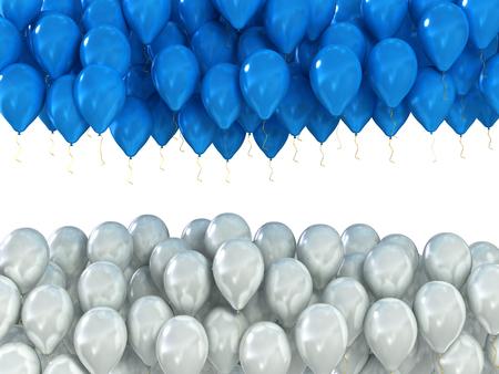 background of white and blue celebratory balloons isolated on white