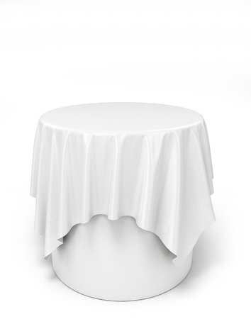 white cloth on a round pedestal, isolated on white