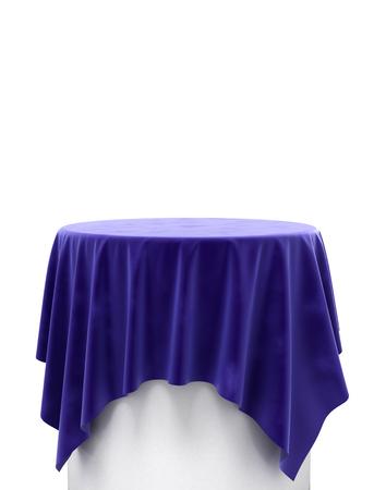 blue velvet: blue velvet cloth on a round pedestal isolated on white