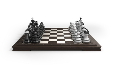 man trapped: wooden chess laid in the original position on the chessboard isolated on white background