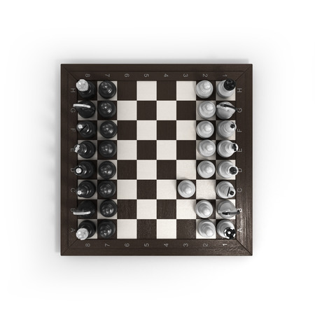 outwit: wooden chess arranged on a chessboard isolated on white