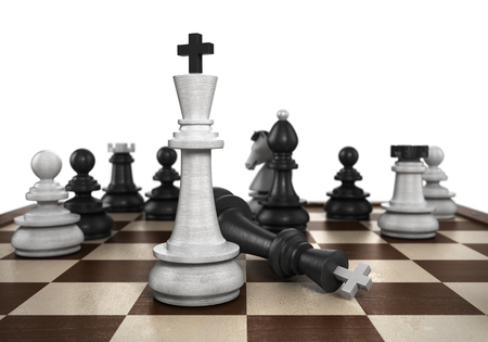 outwit: concept of victory  the resulting mat set the player to play black chess Stock Photo