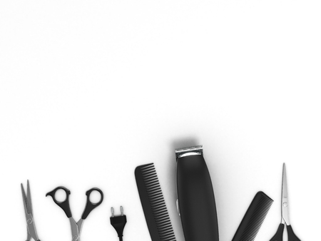 salon background: Scissors and comb and on white rustic wooden background Hairdresser salon concept Haircut accessories