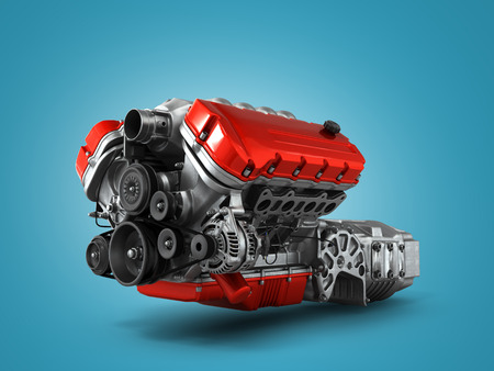 street rod: automotive engine gearbox assembly is isolated on a white background 3d render Stock Photo