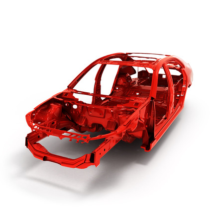 Red back body car with no wheel 3d illustration Stock Photo