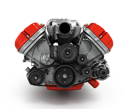 high performance: engine gearbox isolated on a white background 3d render