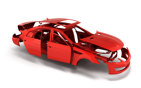 concept car rood geschilderd lichaam en gegrond delen in de buurt op een witte achtergrond 3d render