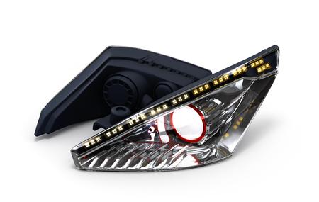 headlamp: Headlamp car isolated on white background 3d illustration Stock Photo