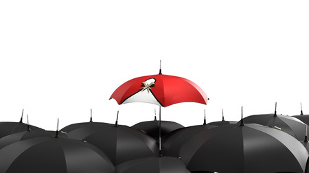 mainstream: 3d render Red umbrella stand out from the crowd of many black and white umbrellas. Business, leader concept, being different concepts
