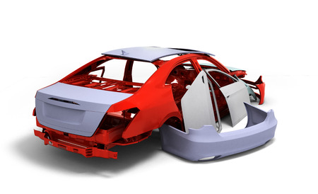 pulverizer: concept car painted red body and primed parts near isolated on white background 3d illustration