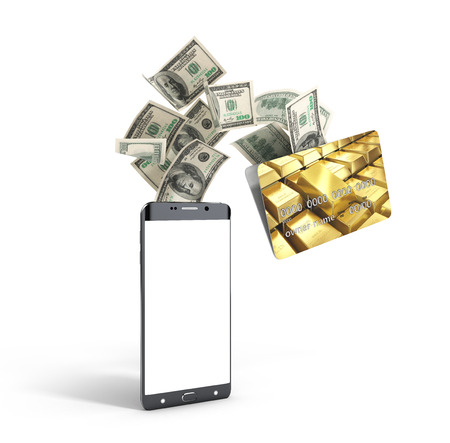 palmtop: concept of mobile banking money fly out the bank card into the phone 3d render Stock Photo