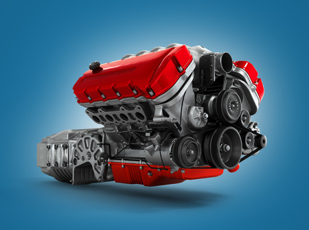 showrooms: automotive engine gearbox assembly is isolated on a white background 3d render Stock Photo