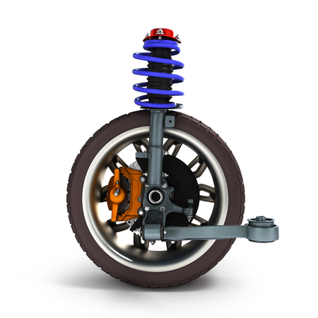 land development: car suspension separately from the car isolated on white 3d illustration Stock Photo