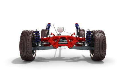 undercarriage: car suspension separately from the car isolated on white 3d render
