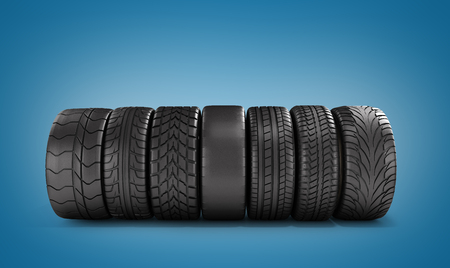 pneumatic tyres: car wheels stand in a row 3d illustration