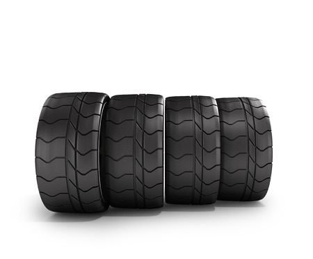 traction: four tires car standing in a row isolated on white 3d illustrations